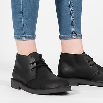 Roamers Dara Unisex Leather Padded Heel Desert Boots Black