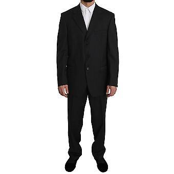 Z ZEGNA Black Striped Two Piece 3 Button 100% Wool Suit -- KOS1717296