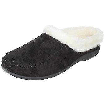Ladies Sleephhh Slip On Fur Trim Slippers Apache
