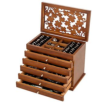 Wooden Carved Jewellery Box Chest Rings Necklaces Storage Organiser Cabinet