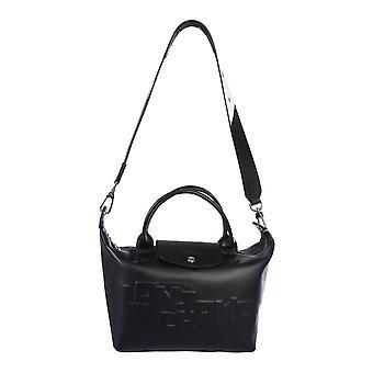 Longchamp 1512712001 Women's Black Leather Shoulder Bag