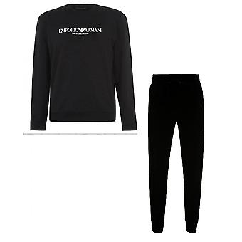 Emporio Armani Cotton Crewn Neck Black Tracksuit