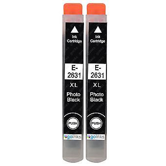 2 Svarte blekkpatroner for foto for å erstatte Epson T2631 (26XL-serien) Kompatibel/ikke-OEM fra Go-blekk