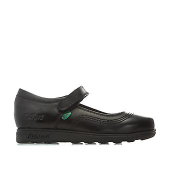 Girl's Kickers Children Fragma Pop Leather Shoes in Black