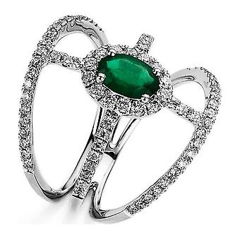 Diamond ring with emerald 750/white gold 0.75 ct.