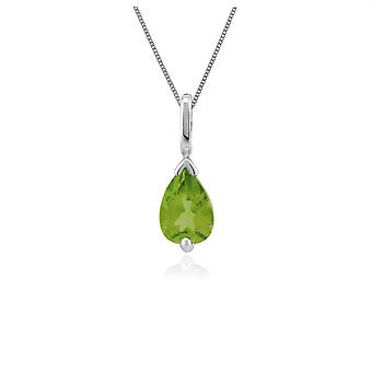 Classic Pear Peridot Pendant Necklace in 9ct White Gold 25665