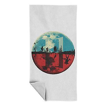 Stranger Things Upside Down Moon Silhouette Beach Towel