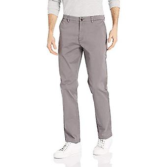 Merk - Goodthreads Men's Athletic-Fit Washed Comfort Stretch Chino Pant, Grijs 33W x 32L