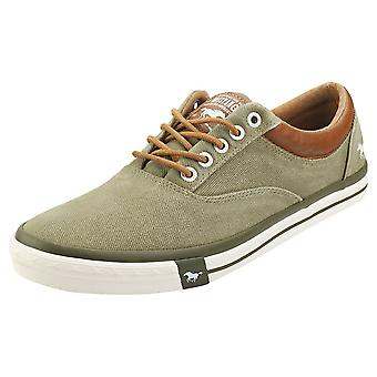 Mustang Lace Up Low Top Mens Casual Trainers em Cáqui