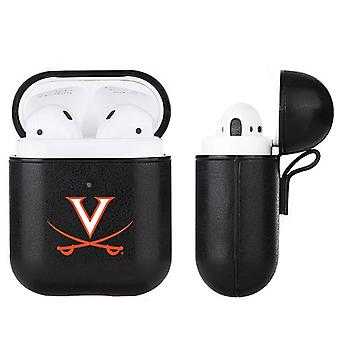 Virginia Cavaliers NCAA Fan Brander Zwart Lederen AirPod Case