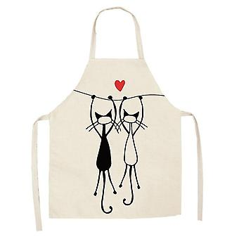 Kitchen Apron Cute Cartoon Cat Printed Sleeveless Cotton Linen Aprons Women