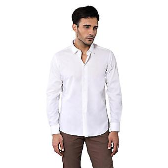 Poly cotton slim fit cream shirt
