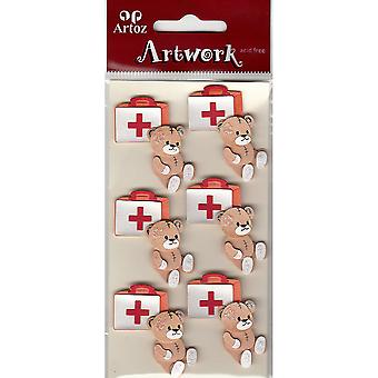 Teddy Bear And First Aid Case Craft Embellishment By Artoz