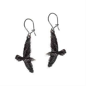 Alchemy Pewter Earrings Black Raven