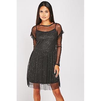 Shimmery Mesh Overlay Skater Dress