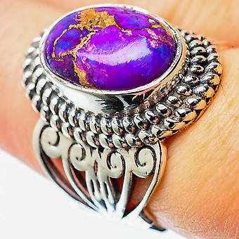 Purple Copper Composite Turquoise Ring Size 7 (925 Sterling Silver)  - Handmade Boho Vintage Jewelry RING25502