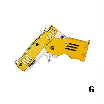 Mini Folding Six Bursts Rubber Band Gun With Key Chain  - Toy Gift For Boys
