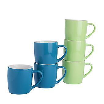 Argon Astiat Tee Kahvimukit - 6kpl nykyaikaiset värilliset keraamiset kupit setti - 350ml - Sininen ja vihreä