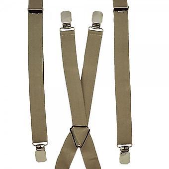 Cravatte Planet Plain Beige Skinny Trouser Braces