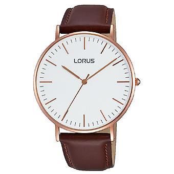 Lorus Herren stilvolle schlanke Rose Gold Fall Uhr mit braunen Lederarmband (RH880BX9)