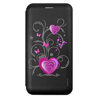 Caso para Xiaomi Redmi 9 Negro Motivo Corazón y Mariposa