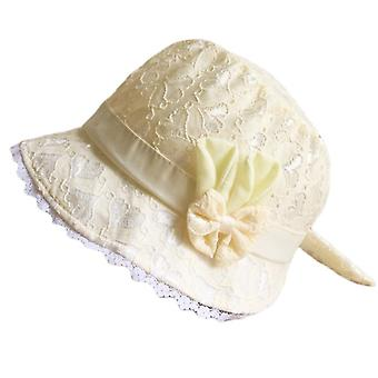 Spring Summer Cute Princess Baby Hat With Bow Solid Color Lace Hollow Baby Girl Cap Toddler