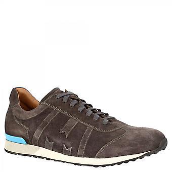ليوناردو أحذية الرجال & apos;ق جولة اليد الدانتيل المنبثقة أحذية رياضية أحذية رياضية في جلد الغزال الرمادي