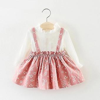Fall Winter Spring Girls Clothes Sets -autumn Cotton Long Sleeves Dot T-shirt+cat Strap Dress