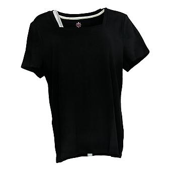 Isaac Mizrahi ao vivo! Mulheres'top essentials square neck tee preto A376802