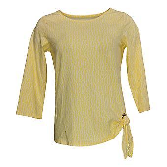 Belle by Kim Gravel Women's Top (XXS) Printed Side Tie Yellow A301534
