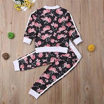 2-7t Kids Girls Clothes Set- Floral Print Long Sleeve Sweatshirt / Pantalon long,