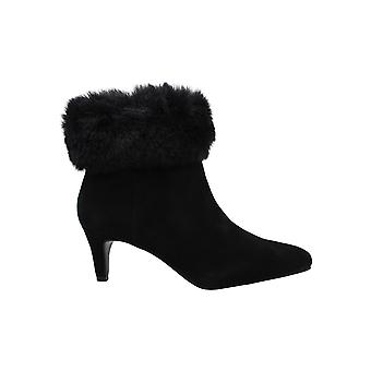 Alfani Womens Hansonn Fur Bootie Suede Pointed Toe Ankle Fashion Boots