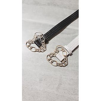 Chain Link Heart Shape Buckle Waist Belt