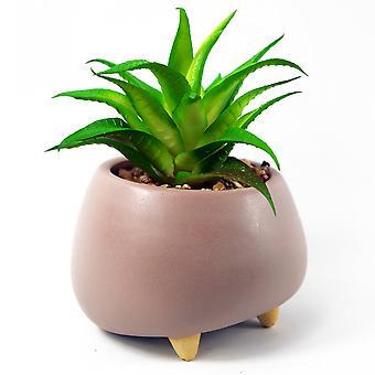 15cm Ceramic Pebble Pink Planter with Artificial Succulent Plant