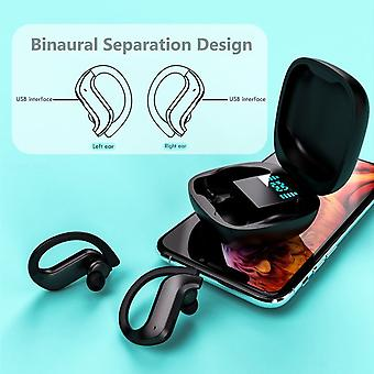 TWS Bluetooth Sport Headset Earphone MD03 LED, Waterproof IPX5 with Charging Case - Black