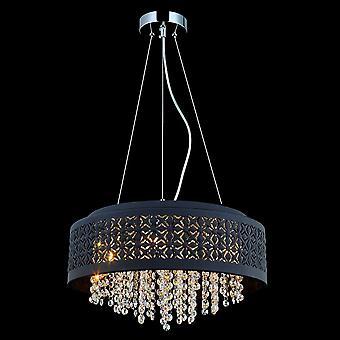 Italux Doris - Moderno pendente appeso Chrome 4 Light con nero, tonalità chiara, G9