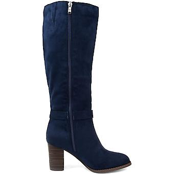 Brinley Co. Comfort Womens Side Strap Riding Boot Navy, 10 Extra Wide Calf US