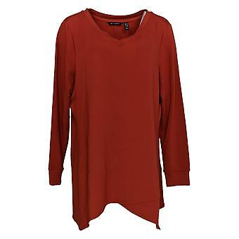 H by Halston Women's Plus Top V-Neck Top w/ Asymmetric Hem Red A368047