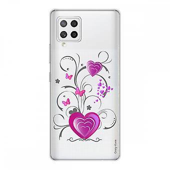 Scafo per Samsung Galaxy A42 5g Silicone flessibile 1 mm, cuore e farfalla