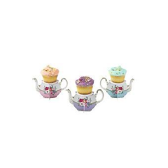 Alice in Wonderland Floral Mini Cupcake Teapot Stand x 6