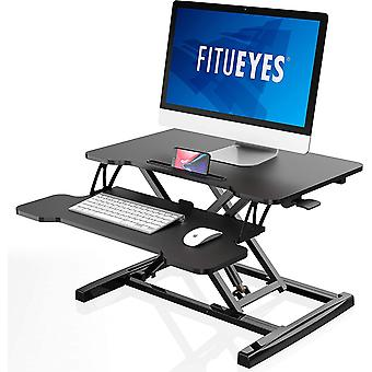 FITUEYES Standing Desk Converter Black Height adjustable with Gas Spring Stand up Desk