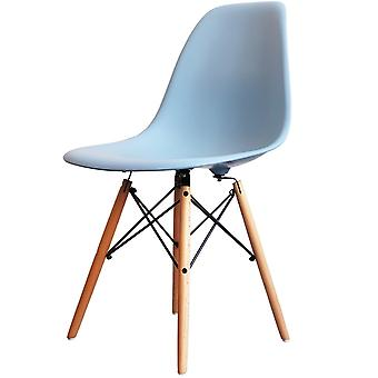Charles Eames Style Light Blue Plastic Retro Side Chair - Natural Wood Legs