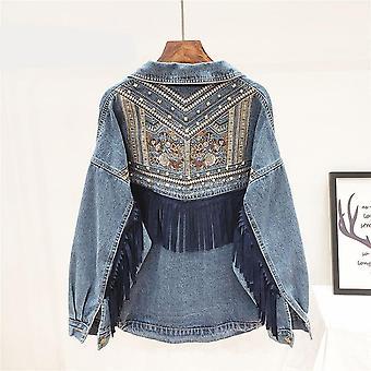ז'קט ג'ינס פרחוני רקמה סוויד שוליים, שרוול ארוך ז'קט לבוש חוץ