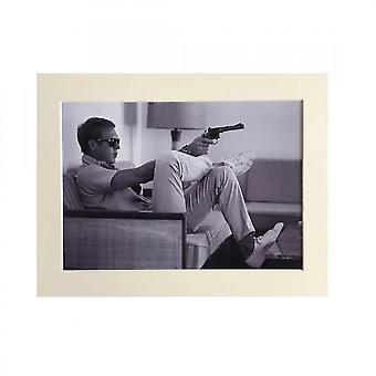 Larrini Steve Mcqueen Gun A4 Mounted Picture