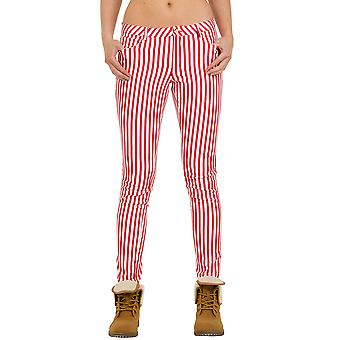 Low Rise Striped Trousers Skinny Fit - Red & White