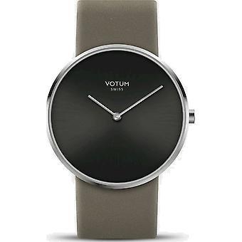 VOTUM - Reloj de señoras - CÍRCULO - Puro - V01.10.10.06 - correa de cuero - marrón grisáceo