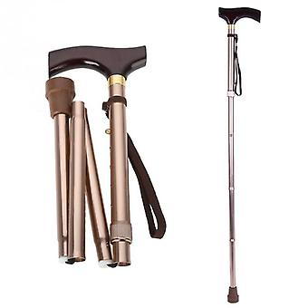 Wooden Foldable Elderly Safety Walking Stick Guide Blind Cane Crutch