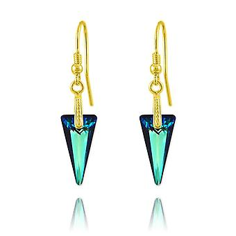 24K gold and blue luxury earrings