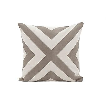 Set of 2 Taupe and Ivory Cross Decorative Accent Pillows
