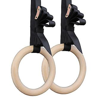 A Pair Of Gymnastic Rings Wooden Fitness Rings With Adjustable Straps For Full Body Strength And Muscular Bodyweight Training Cross-training Workouts
